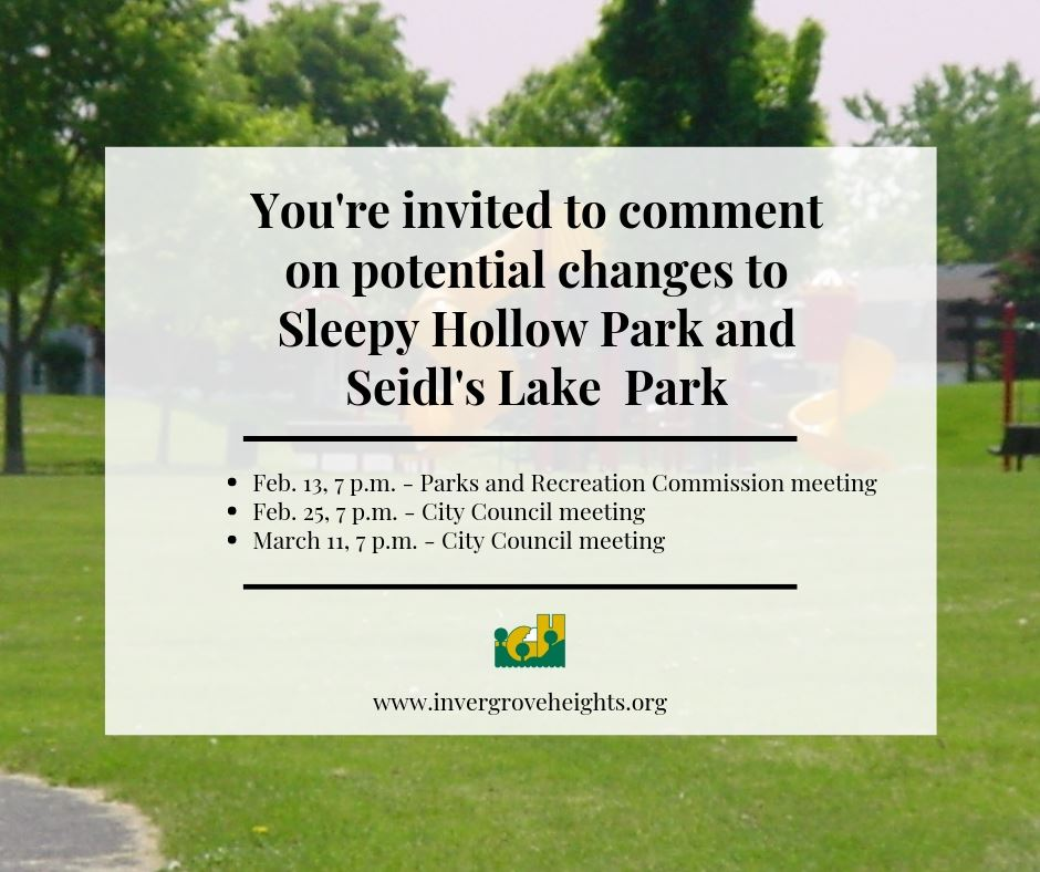 Image announcing Public Comment on Potential Changes to Sleepy Hollow and Seidl&#39s Lake parks