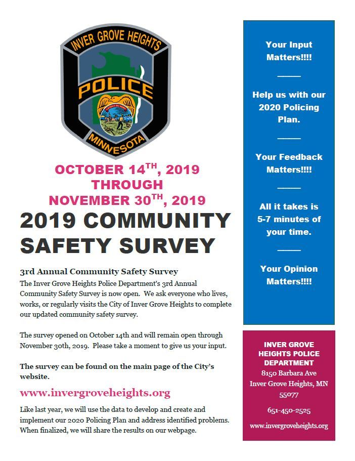 2019 Community Safety Survey Flyer