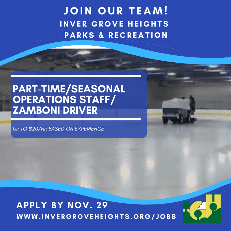 Now Hiring - Operations-Zamboni Driver - Oct. 2019