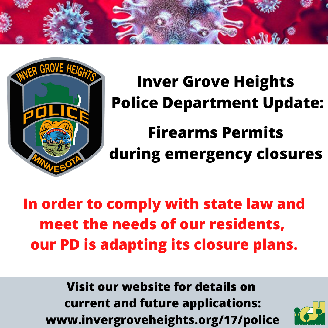 City Covid-19 update - PD Firearms Permit Message March 2020 - Social Media Graphic - v.1
