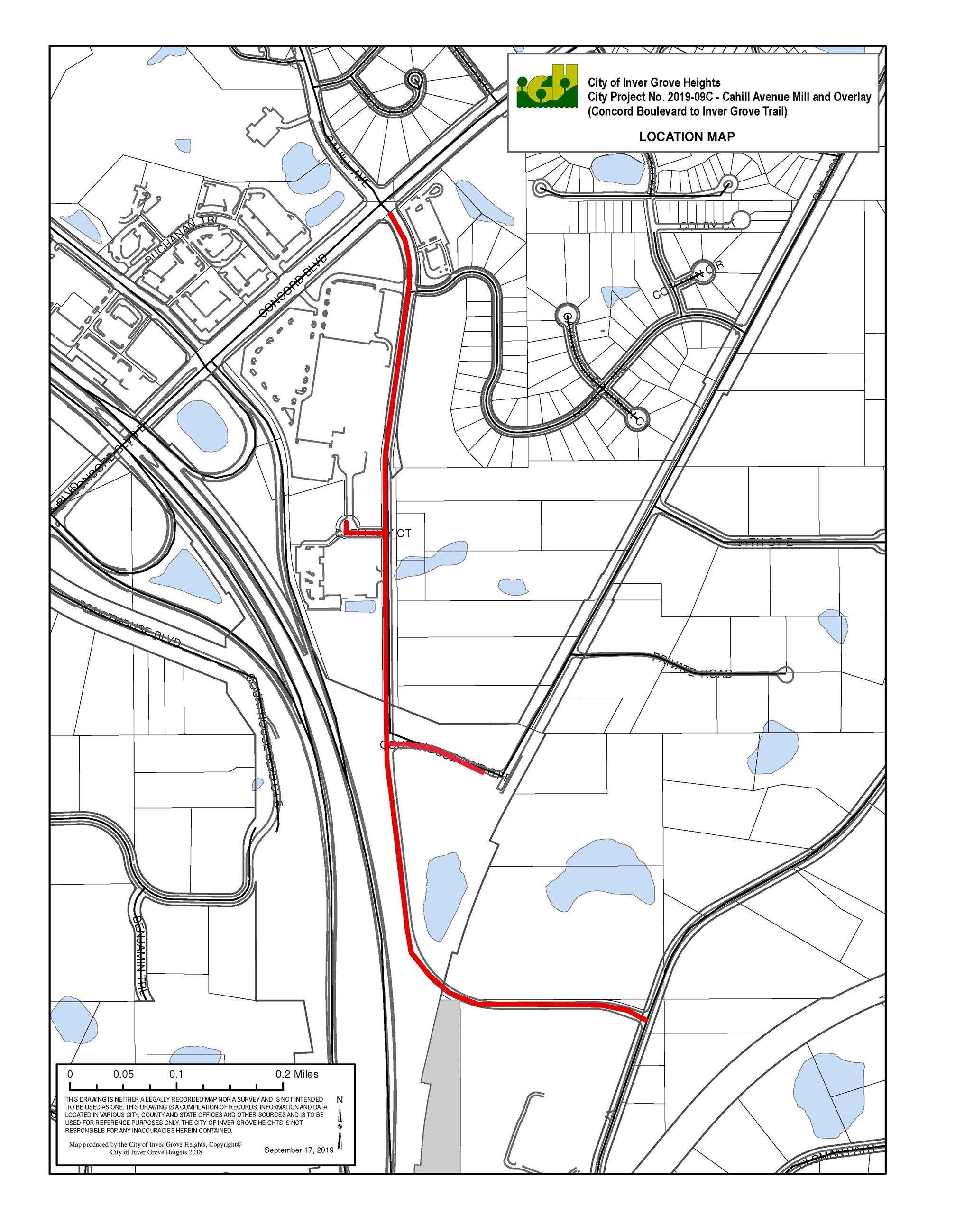 Cahill Ave Improvements 2020 Project Map
