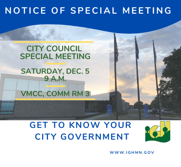 City Council Meeting - Special Meeting - Dec. 5 - Homepage News Flash