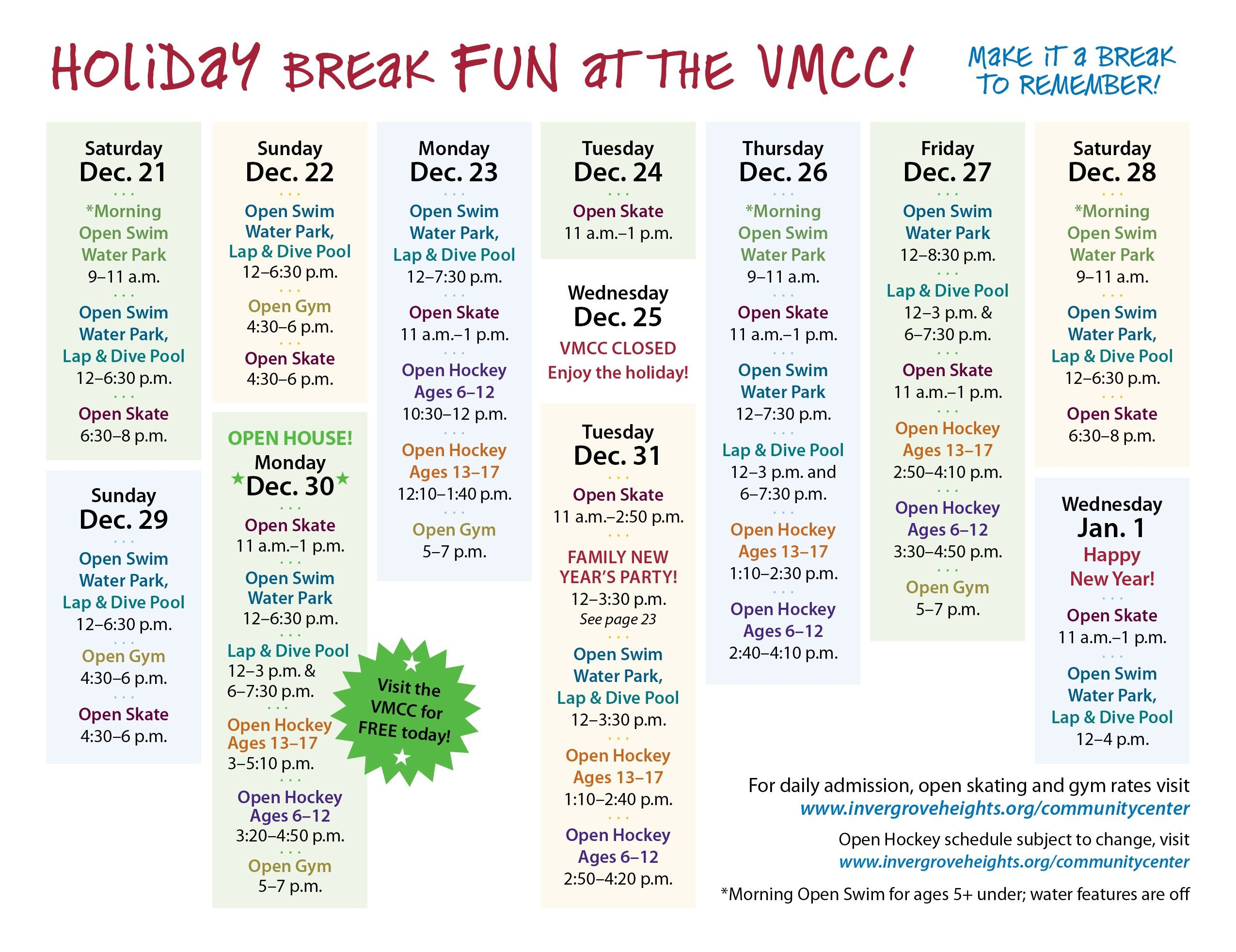 vmcc holiday break 2019