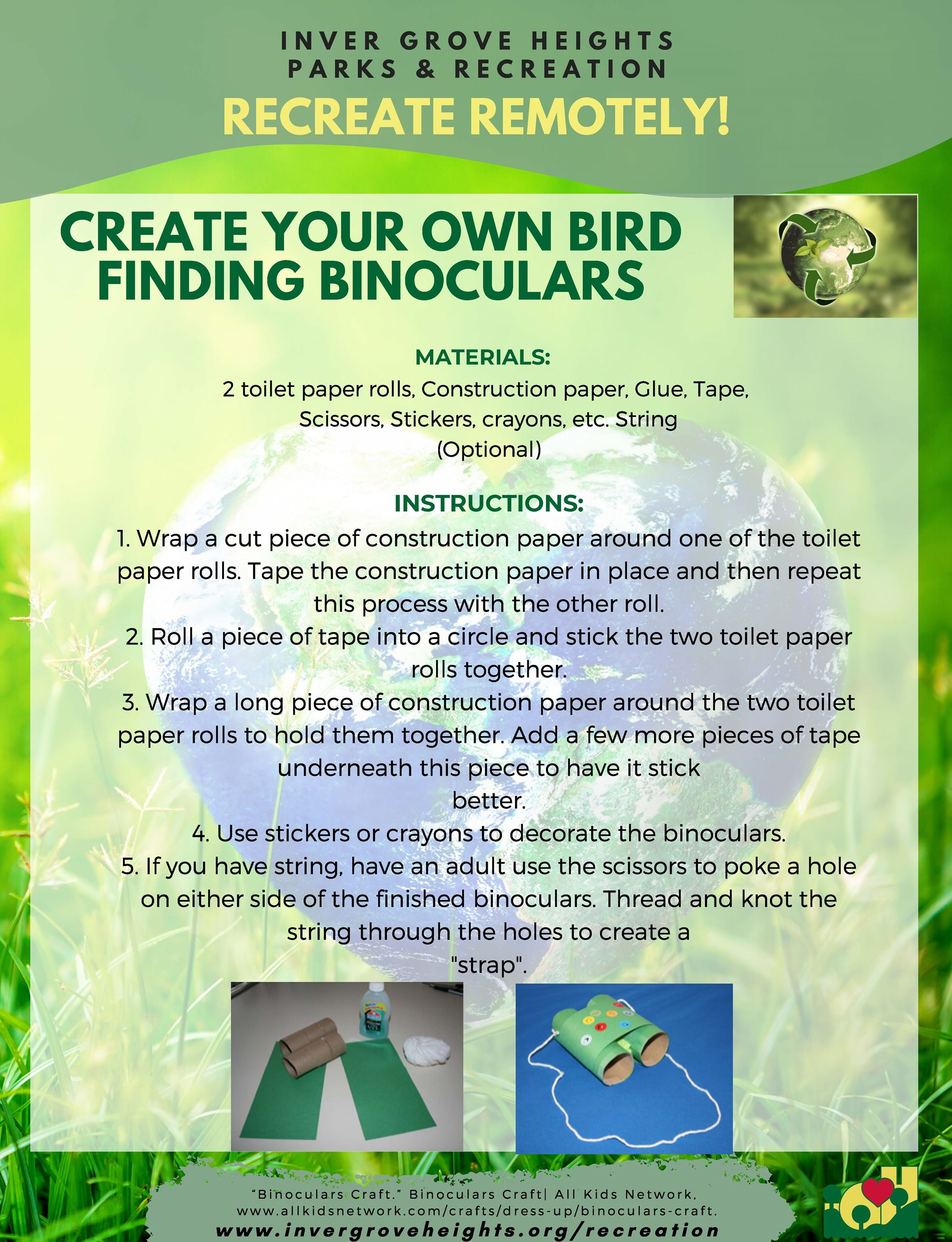 Recreate Remotely 2020 Template - 8.5x11 - EarthDay activities - bird watching